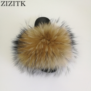 Attractive Design Slides Real Shoes Racoon Skin Fur Slippers