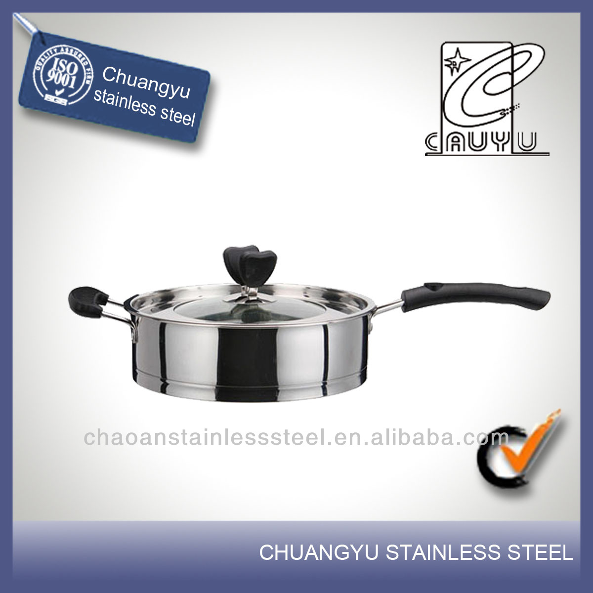 New product stainless steel ceramic frying with lid pan