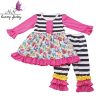 Beautiful baby girls pattern dress ruffle clothes sets for wholesale striped cotton clothing outfit