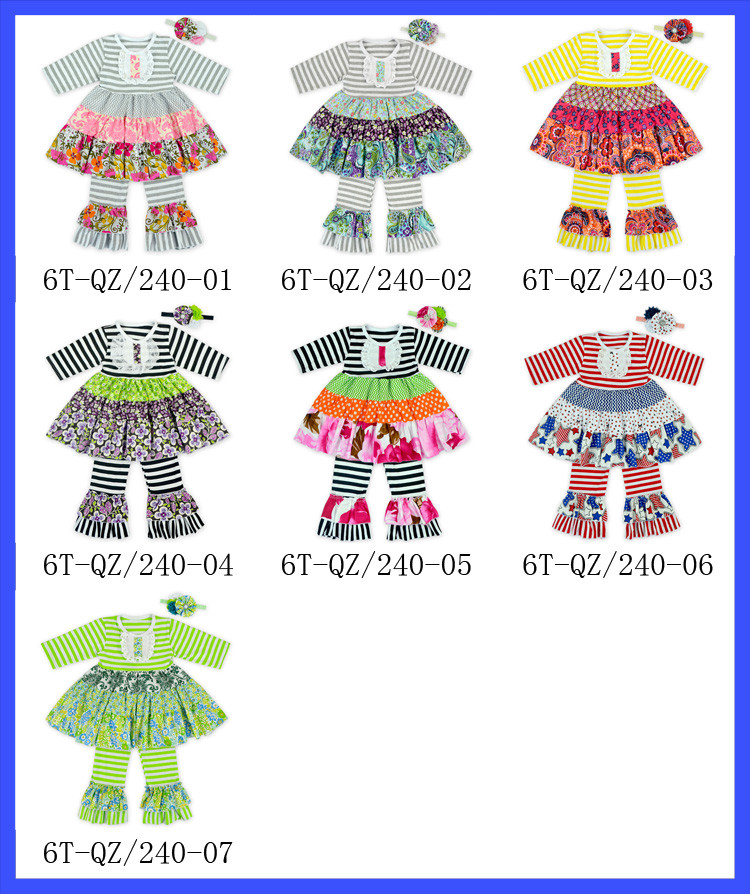 Toddler Infant Baby Girl Chevron Pant Sets Boutique Girl Clothing Set With Ruffle 4th Of July Clothes Set Fit 1-6 Years Old