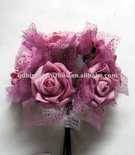 Lifelike Decorative Silk Rose Flowers Bouquets with ribbon for wedding Decoration