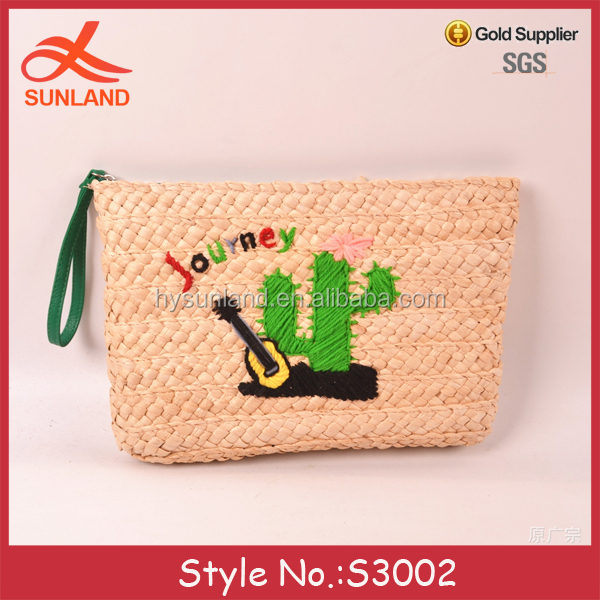 S3002 hot sale 2017 summer women girls embroidered patterns straw clutch bags