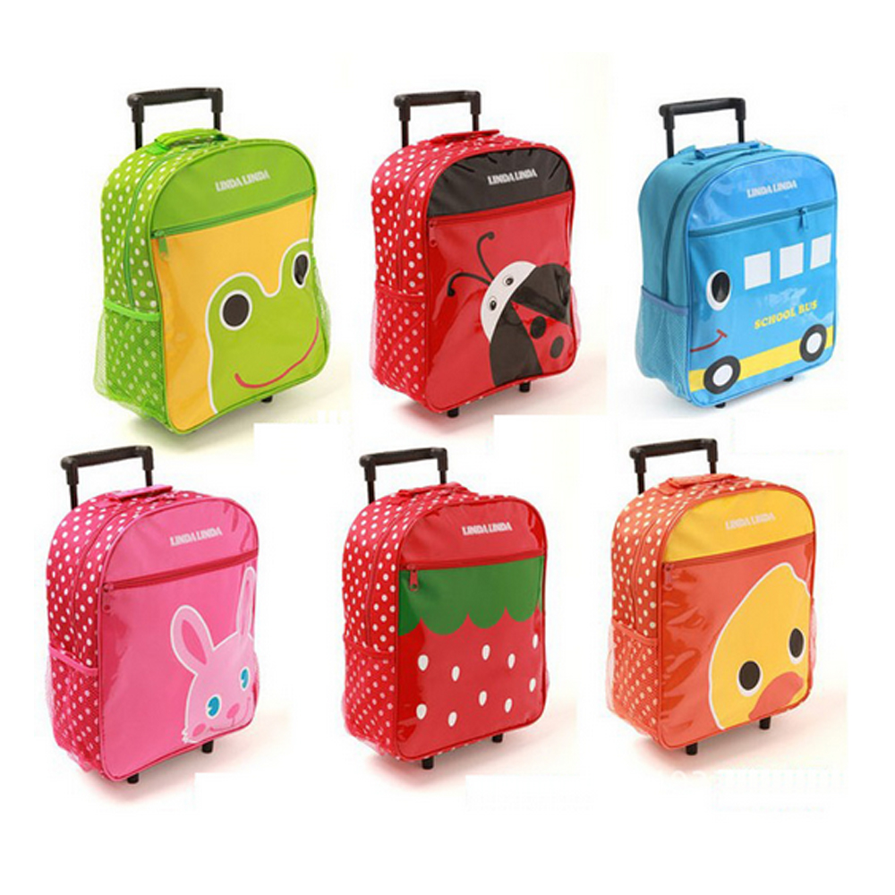 4 Wheels lovely cat printing Trolley School Bags Kids Wheeled Backpack Bag with bow for Girls Primary School
