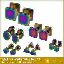 Stainless Steel Rainbow Titanium Anodized Square Triangle Round Fake Plug Tunnels Ear Gauges