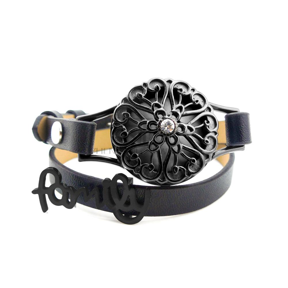 New Black Screw 26mm with Charms Genuine Leather Aroma Locket Stainless Steel Bangle Essential Oils Diffuser Locket Bracelet