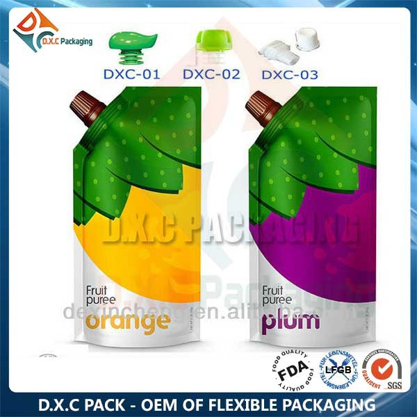 Customized Printed Liquid Food Packaging Bag With Spout Cap Top