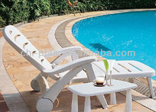 White Lounge outdoor Plastic chaise folding sun bed Beach Chair in Taizhou