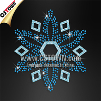 Blue sequin and glitter snowflake iron on christmas