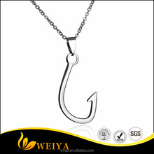 Hot Selling Jewelry Stainless Steel Fashion Fish Hook Pendant Necklace