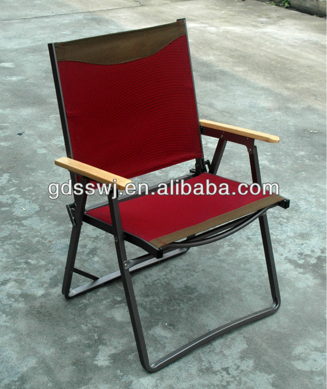 2014 outdoor luxurious bamboo armrest metal folding chairs