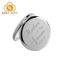 Portable Handbag Zinc Alloy Round Pocket Mirror