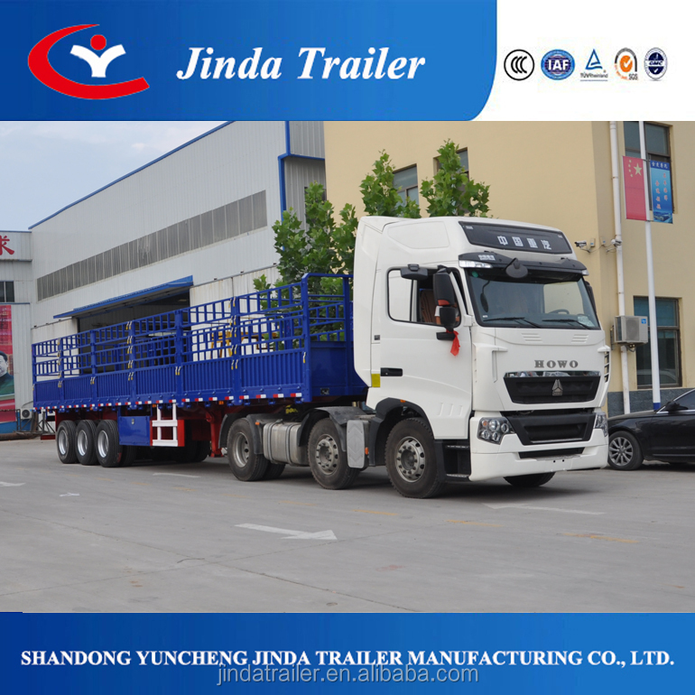 Jinda high bed semi-trailer series/ double fenced box stake trailer 3 axles truck trailer in Jinda China