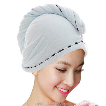 Good water hair dry microfiber hair towel turban wrap with many colors