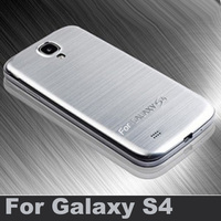 S4 Brushed Aluminum + Plastic Battery back case For samsung galaxy S4 i9500 Ultrathin cover Free Screen protector