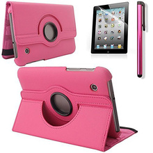 Hot Pink New 360 Degrees Rotating Stand Leather Case for Samsung Tab