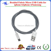 New Charging Woven Braided USB Cable for iphone 6, Colorful Micro Braided USB Cable for Samsung