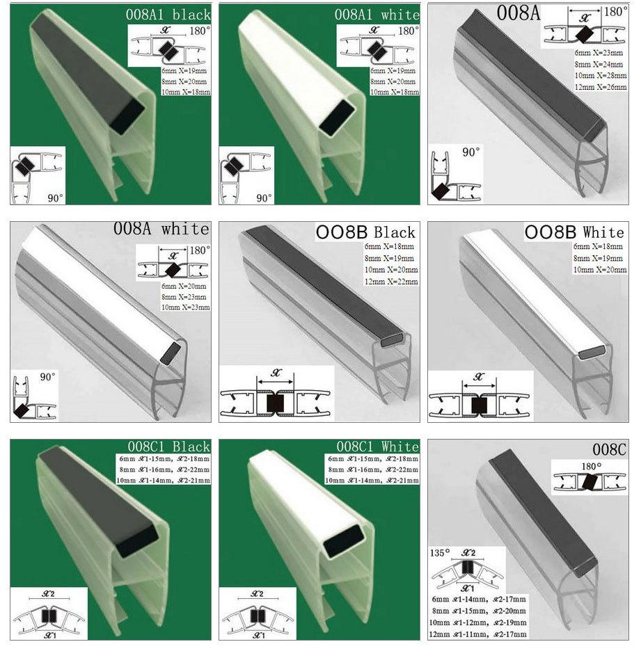 Plastic shower door seal strip/glass shower door plastic seal ...