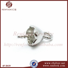 RenFook Factory direct sale 925 sterling silver with rhodium plating casting bead bail pendant