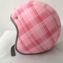 Research and development of the new leather half helmet The phantom of the pink Blue demon ji Can be added with bluetooth.