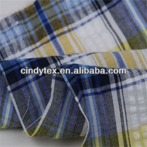 drapery soft plaid yarn dyed cotton seersucker fabric