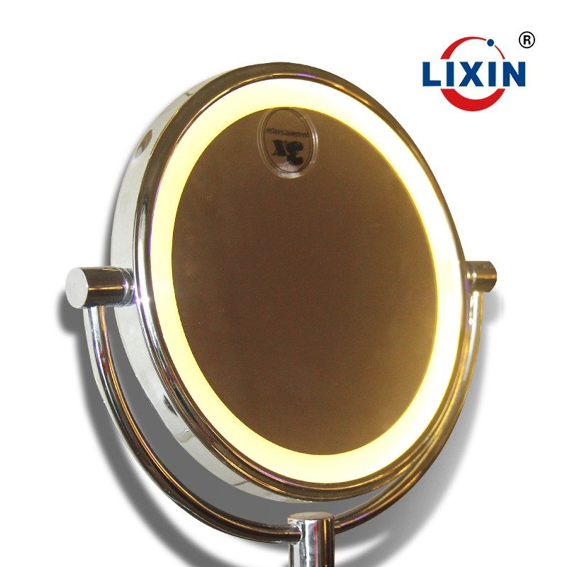 Bathroom magnifying makeup mirror with LED light