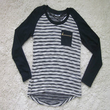 Latest design garment stock lot fashion ladies stripe knitted sweater