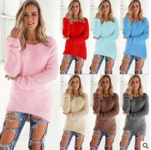 Western design warm blouse lady fashion sweaters plain color winter tops