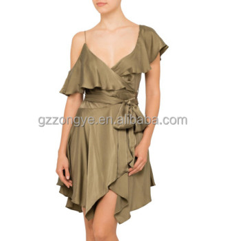 2017 Fashion off-shoulder V neck waist belt flouncing Irregular design casual mini dress