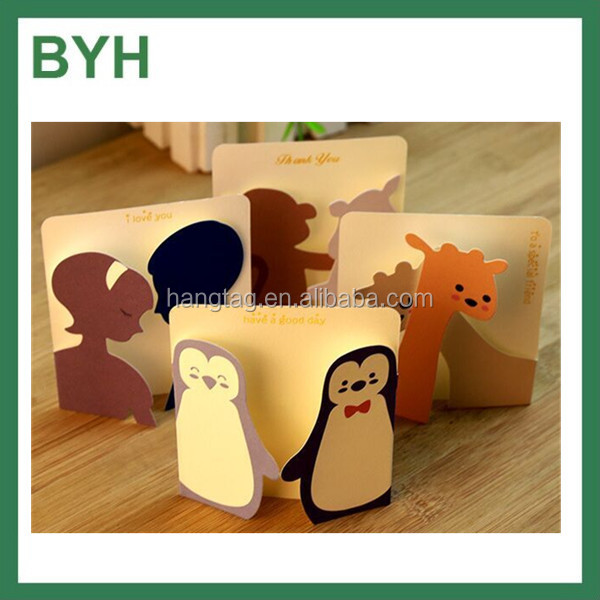 Handmade Gifts Small Animal Paper Printing Greeting Cards Designs