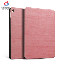 Wholesales pc + wooden grain leather back cover case for ipad 2 3 4