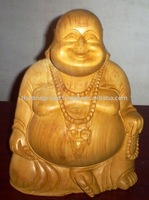wood carved lord laughing buddha