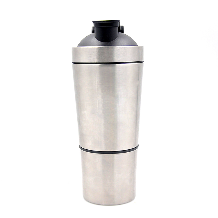 304 stainless Steel 700+200ML Metal Protein detachable Shaker Bottle with FDA certification