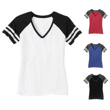 Raglan Sleeve Contrast Color ladies womens Distressed Retro V-Neck T-Shirts