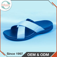 Factory Selling Cheap Great Quality Man Grain Leather Webbing Hotel Slipper