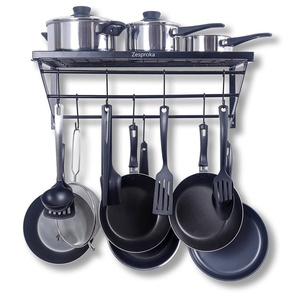 A Kitchen Wall Pot Pan Rack,With 10 Hooks,Black