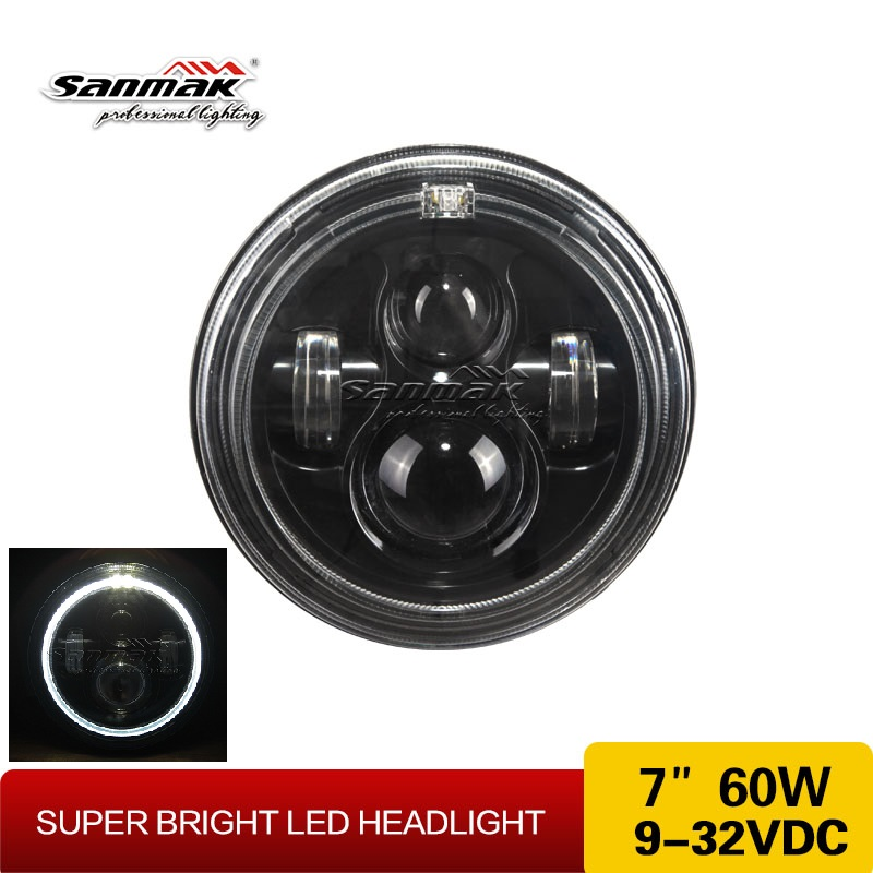 Auto Spare Parts Round 7inch LED Headlights Dual Color Harley Parts Angel Eyes Motorcycle Headlights