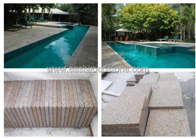 natural stone swimming pool coping deck