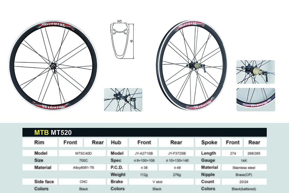 40mm 700c alloy aluminium bike rims wheel ,mountain bike 29 wheelset MT520,alloy mtb 29 wheel
