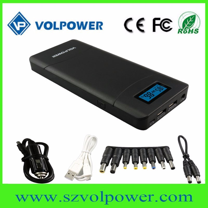New products2017 portable mobile battery charger 16800mah 20000mah car jump starter power bank 12V 19V 20V with LCD display