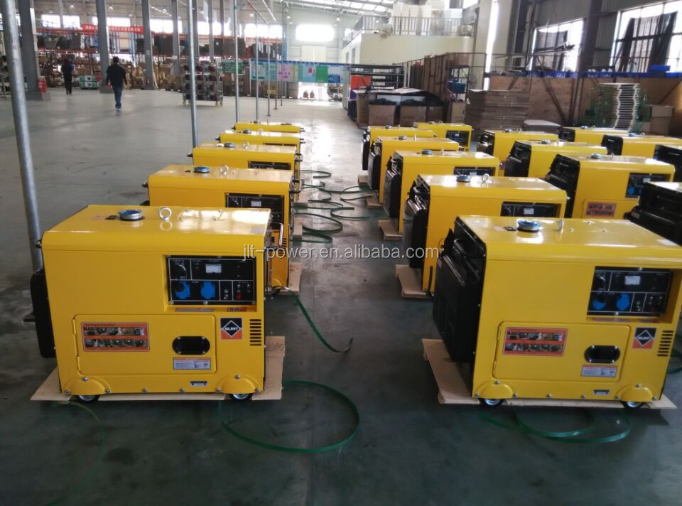 AC single phase 5kva canopy type diesel generator, yellow and black generator for home use