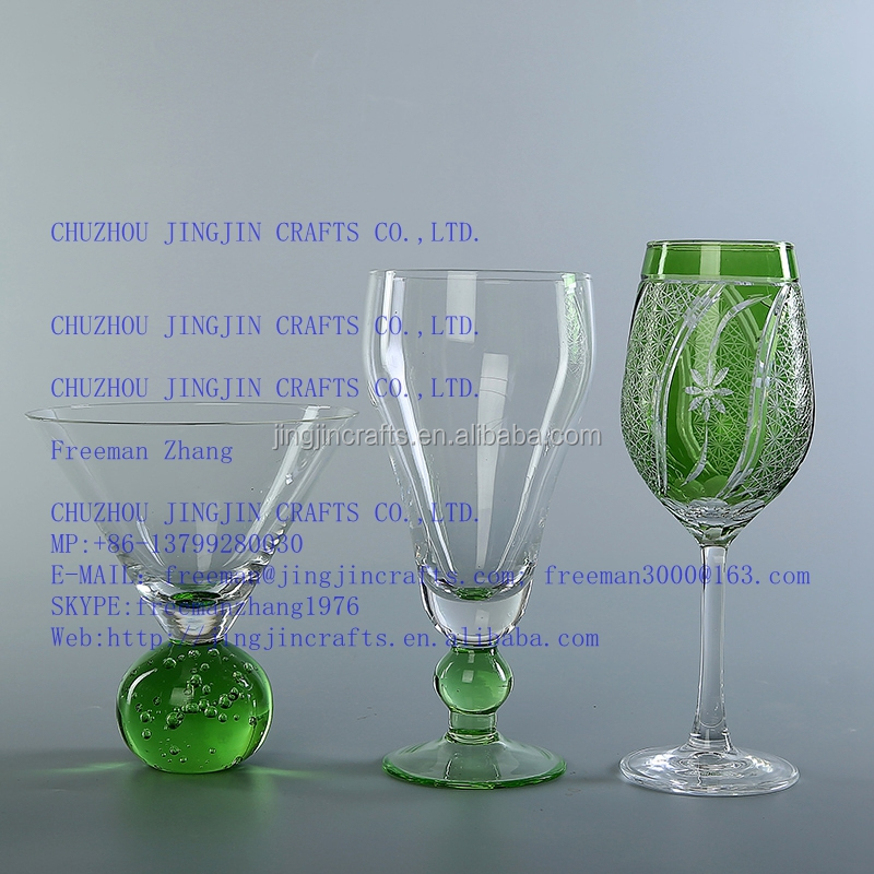 high white wine glass/elegant vintage high white red wine glass/hand blown clear ball stem green wine glass