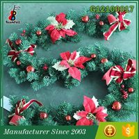 2015 Top quality Ornament For Festivals Celebrations advent red bow wreath christmas garland