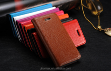 2015 Fashion Nice Quality Custom Flip Genuine Leather Cell Phone Case For Samsung Galaxy S6