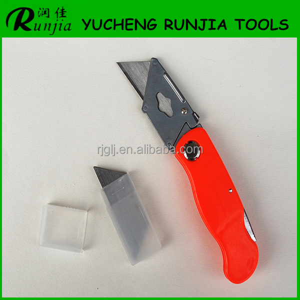 High quality Automatic foldable box cutter knife with highquality trapezoid blade