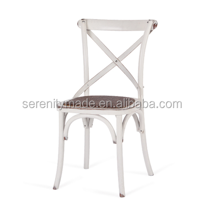 event hire white cross back wedding chair with padded wicker seat