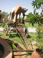 Royal Indian Rajasthan Jodhpur Hand Made Handicraft Antique Wooden Bullock & Horse Cart Baghi Rath Gadi Chariot (Indian Antique)