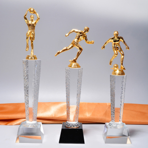 Custom golden american football trophy competition acid pickling crystal trophy
