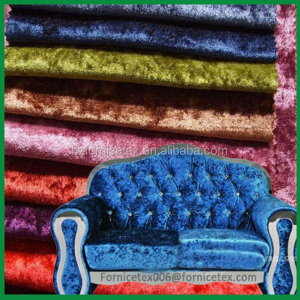 22 China High Quality 100%polyester bonded crushed velvet upholstery fabric