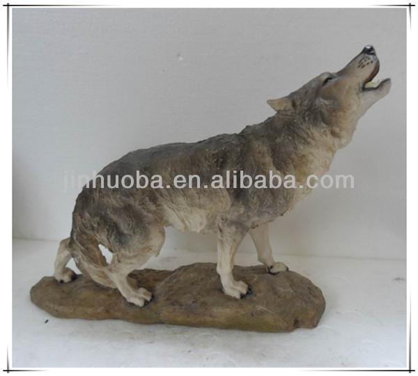jardim decoração polyreisn sentado lobo escultura