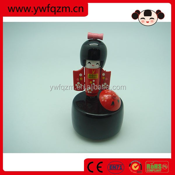 Wood Japan Doll Music Box for gift